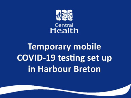 Temporary mobile COVID-19 testing set up in Harbour Breton