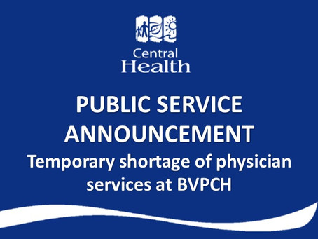 Temporary shortage of physician services at Baie Verte Peninsula Health Centre