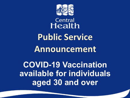 COVID-19 Vaccination available for individuals aged 30 and older
