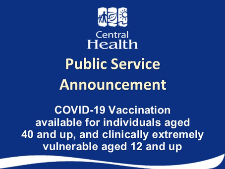 COVID-19 Vaccination available for people aged 40 and older and clinically vulnerable aged 12 and up