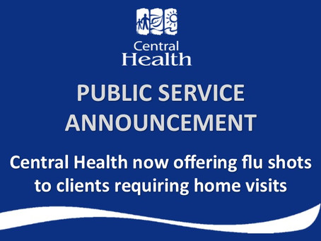 Central Health now offering influenza vaccinations to clients requiring home visits