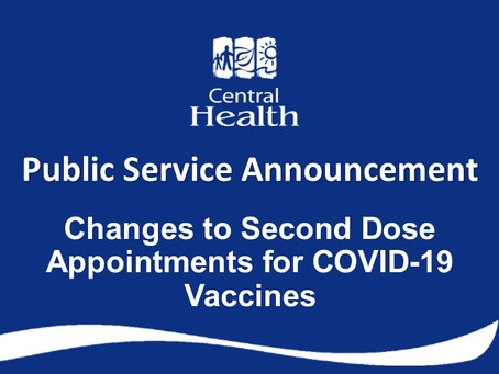 Changes to Second Dose Appointments for COVID-19 Vaccines