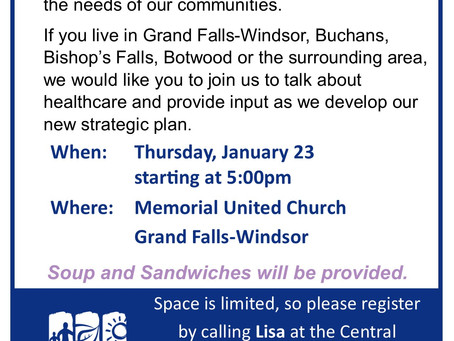 Community Engagement Session taking place in Grand Falls-Windsor January 23, 2020