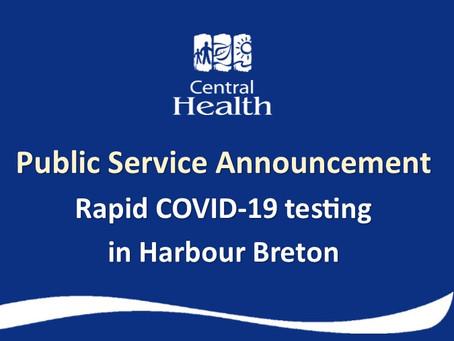 Rapid COVID-19 testing in Harbour Breton