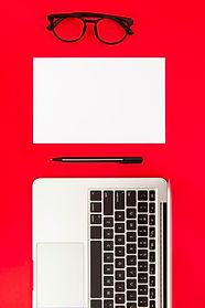 arrangement-desk-elements-red-background