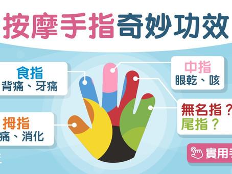 每日3分鐘 | 按摩手指公治頭痛食指紓緩抑鬱 5隻手指逐隻按減壓