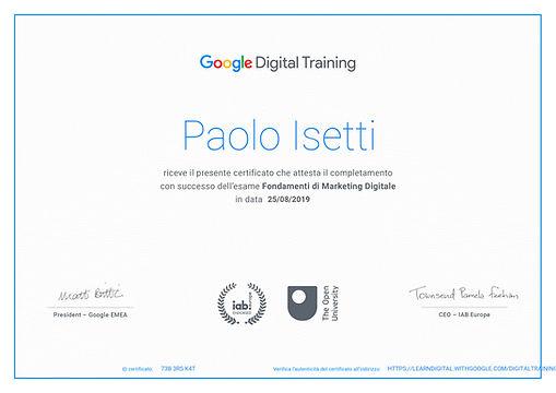 certificato google paolo isetti biograph