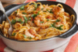 Spaghetti with prawns and fiery chilli p