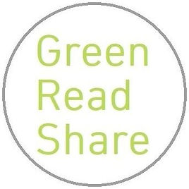 Green Read Share logo for a service in Guildford that allows for sharing of books on climate change, the environment, social justice, and politics