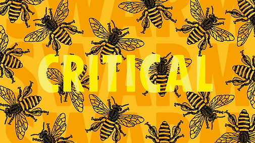 Extinction Rebellion bee artwork signifiying the decline of pollinator populations and the ecological crisis
