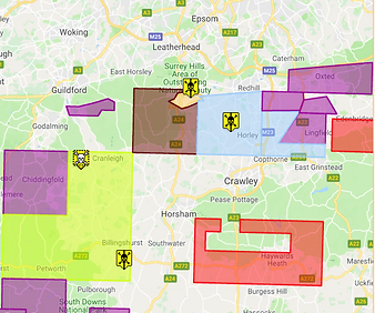 Map of oil and gas exploration and drilling sites in Surrey from Frack Off