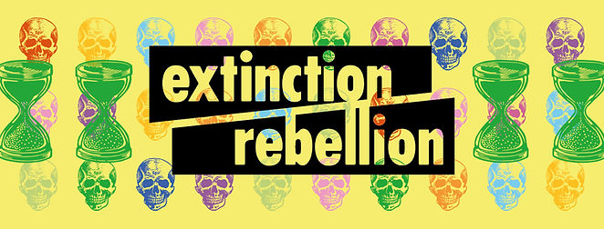 Extinction Rebellion Guildford Facebook banner with egg timers and skulls signifying the closing window of opportunity to act on the climate emergency