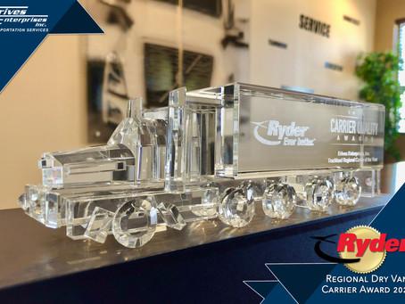 Erives Enterprises Awarded Ryder Regional Carrier Quality Award for 2020