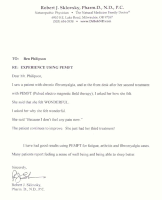 PEMF Parmeds letter Dr Sklovsky