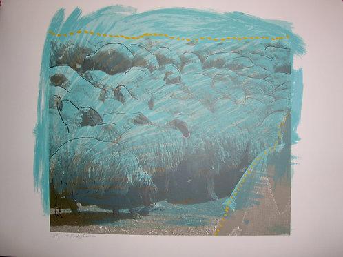 Herd of Blue Sheep Menashe Kadishman