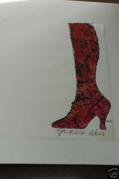 "ANDY WARHOL ""Gee Merries Shoes"" 1956 signed"