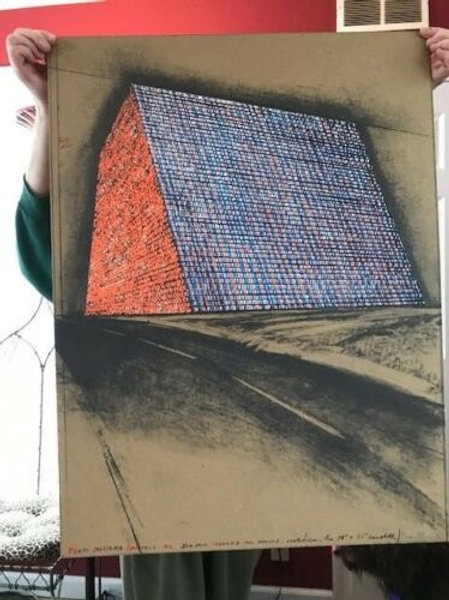 "CHRISTO Signed 1976 Color Lithograph/Silkscreen/Collage Ltd. Ed. ""Texas Mastaba"""