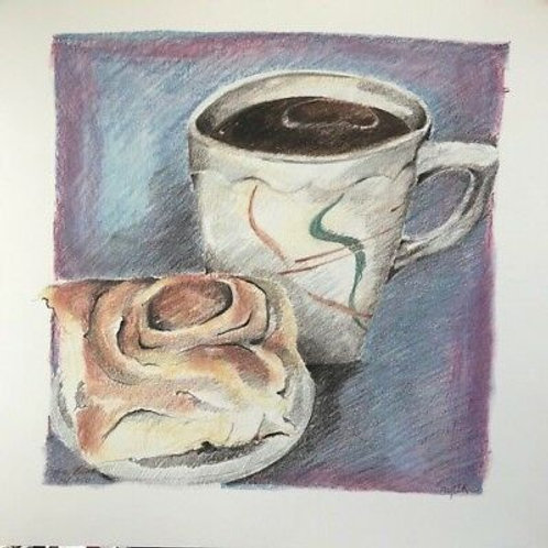 JANET SINGLETON - COFFEE ROLL AND COFFEE - LIMITED EDITION PRINT
