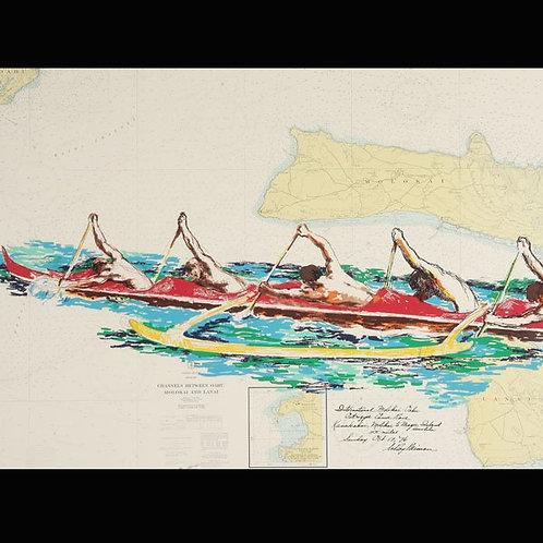 LeRoy Neiman Outrigger Canoe Racing