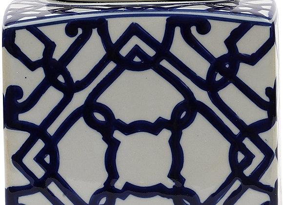Blue & White Square Ginger Jar