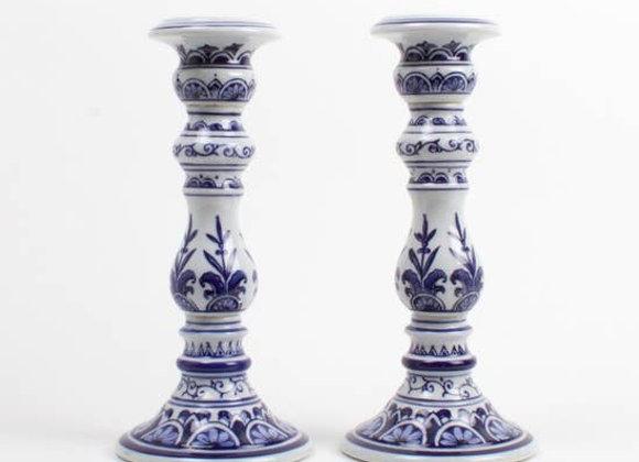 Large Delft Blue Candle Stick Set