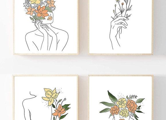 Floral women Wall Art Print