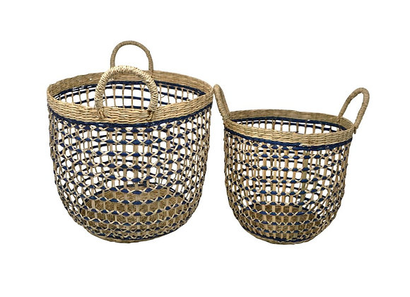 Rattan Baskets with Blue Lines