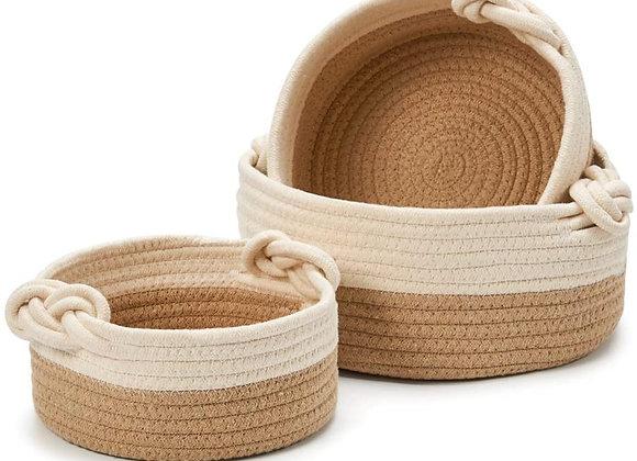 Natural Cotton Rope Basket (Set of 3)