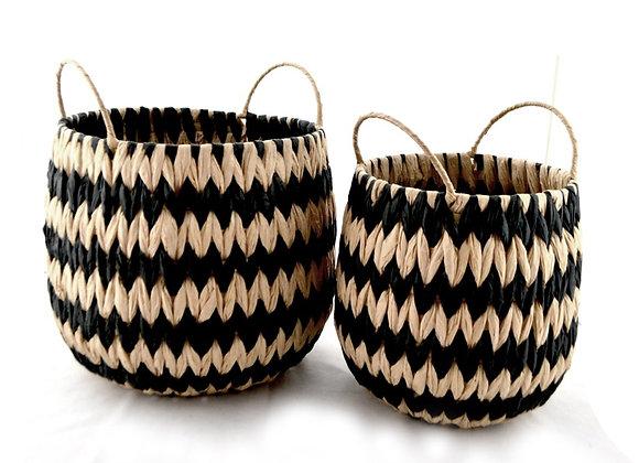 Basket Natural & Black Set