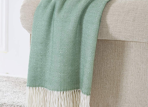 Herringbone Fringe Throw Blanket