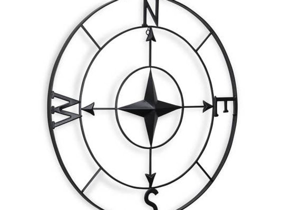 Black Round Metal Wall Compass