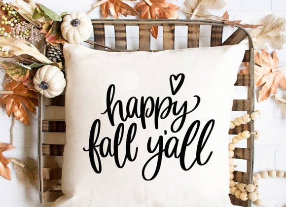 Happy Fall Y'all Pillow Cover