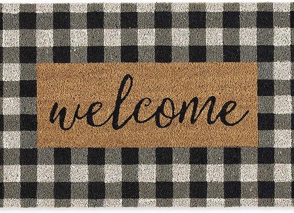 Checkered Welcome Doormat