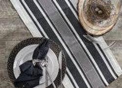 """60""""L Bleach And Black Stripe Linen Table Runner"""