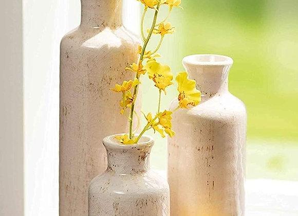 Distressed Cream Vase Set