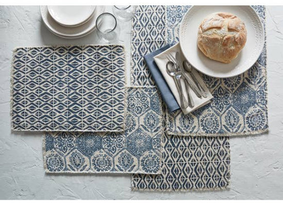 "72""L Mosaic Tile Printed Table Runner - Blue"