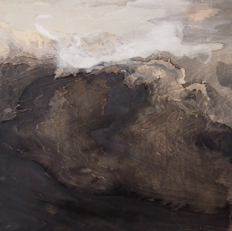 「人の風景」パネル,墨,岩絵具