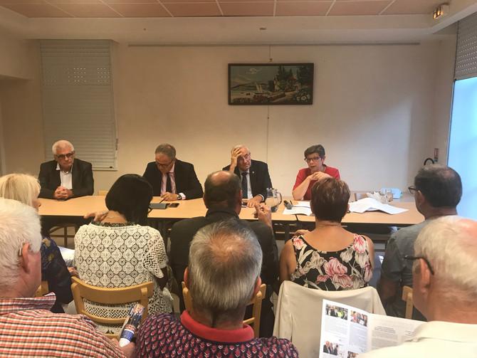 Réunion à Saint Laurent de Chamousset avec les Sénateurs du Rhône le vendredi 14 septembre 2018