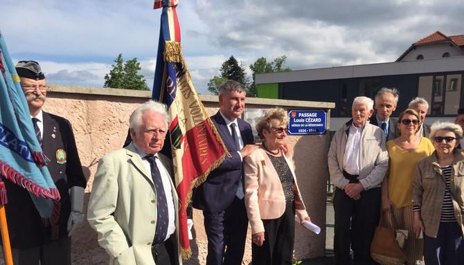 Inauguration du passage Louis Cézard, héros de la résistance, à Saint Symphorien sur Coise vendredi