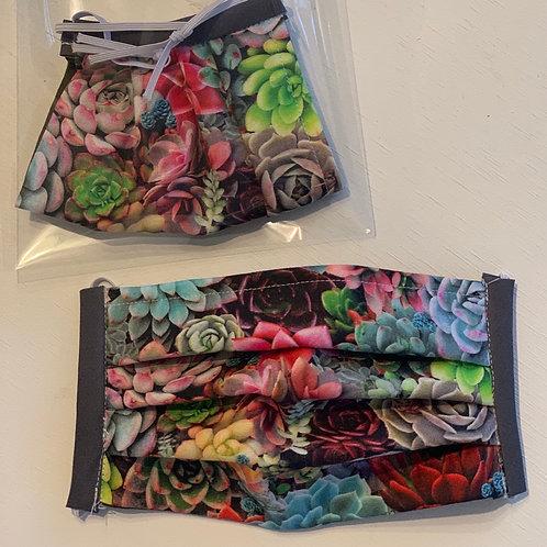 Pleated double layer washable fabric masks
