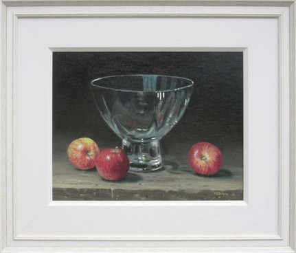 Glass with apples