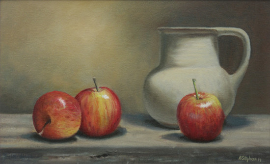 Jug with apples