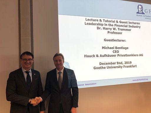 Executive Suite Leadership Dr. Trummer: Top Executive Guest Speech with Hauck&Aufhäuser, Dec 9, 2019