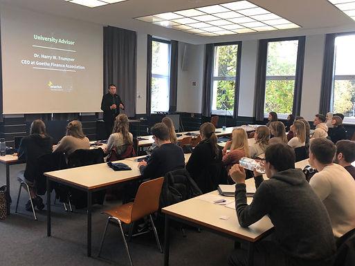 Dr. Trummer gives speech at Semester Kick-off of Enactus Goethe University Frankfurt Team, Nov2 2019