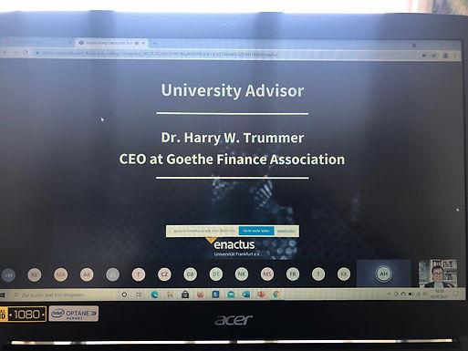 Dr. Trummer gives opening speech for Enactus Goethe University Frankfurt Team-kick-off, May 2, 2021