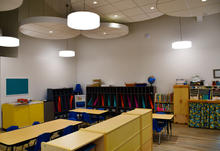 """Blue Room with new acoustic """"clouds"""" (4's classroom)"""