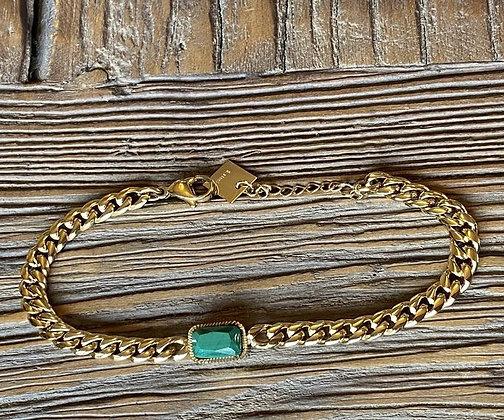 Bracelet maille pierre malachite