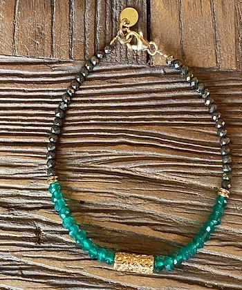 Bracelet Agathe verte et Pyrite