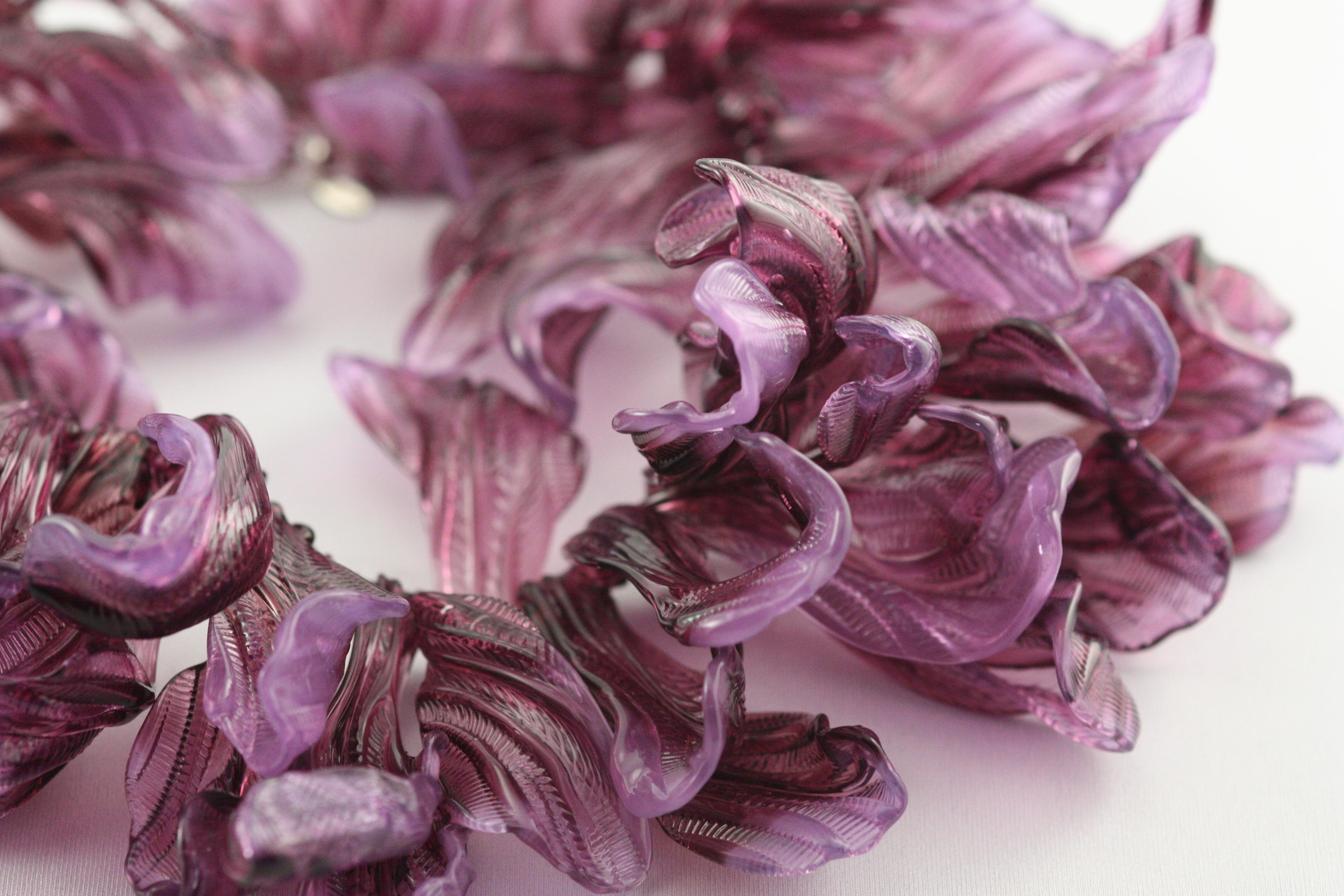 Puple magnolia necklace detail