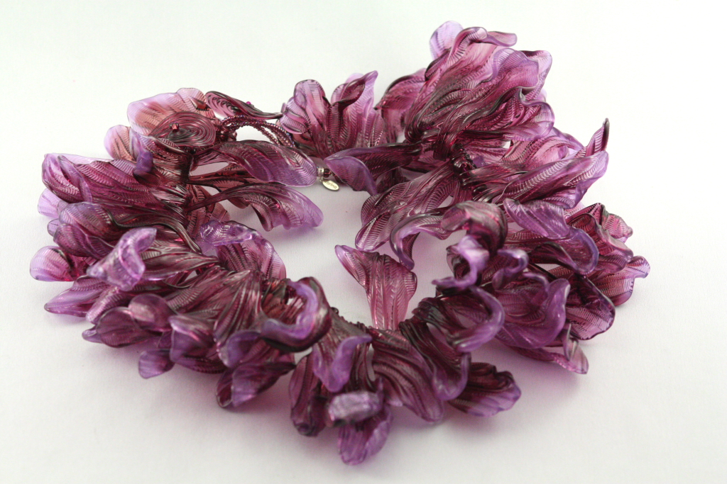 Purple magnolia necklace